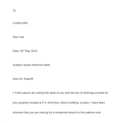 Landlord Reference Letter For Bank Tenant Recommendation Letter