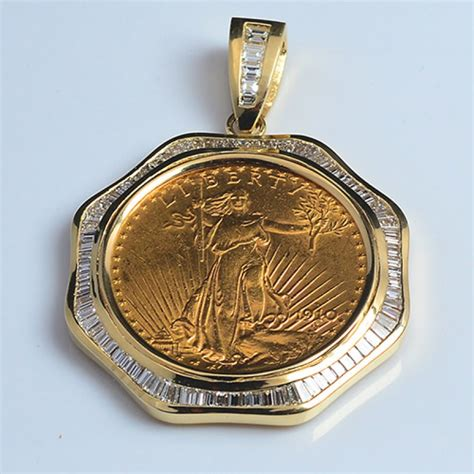 14kt gold pendant to fit u s 20 gold coin 4 17