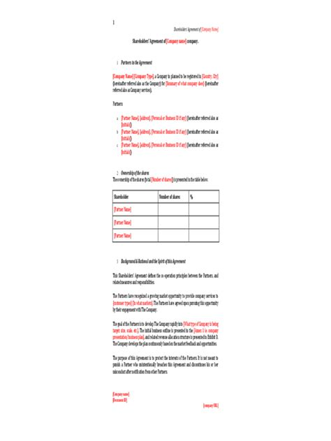shareholder agreement 5 free templates in pdf word
