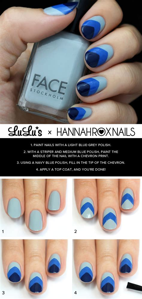 easy nail art chevron mani monday blue chevron nail tutorial lulus com