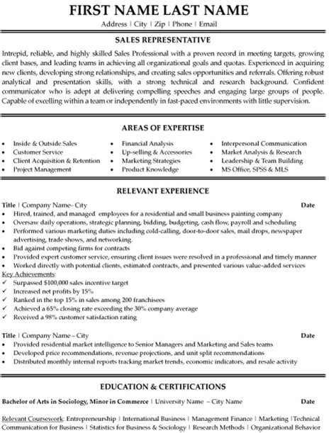 Professional sales representative resume