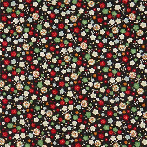 tessuti a fiori popeline nero fantasia floreale da kokka tessuti a fiori