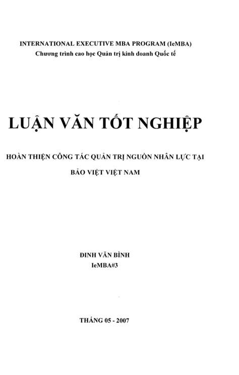 Mba Program In Oc by Dinh Binh Hoan Thien Cong Tac Quan Tri Pdf