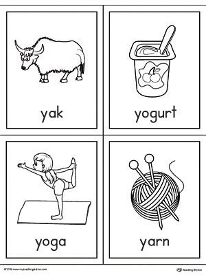 y words coloring page letter y words and pictures printable cards yak yogurt