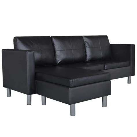 black leather l sofa 3 seater l shaped artificial leather sectional sofa black