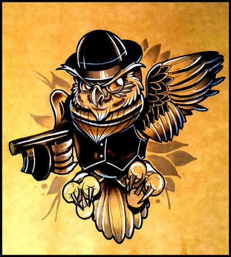 New School Gangster Tattoo | new school owl gangster tattoo design