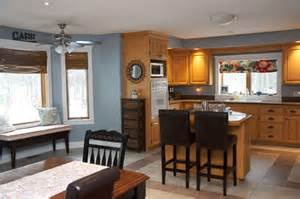 oak kitchen with blue grey wall color kitchen reno is not