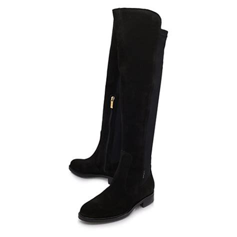 buy carvela walnut suede flat knee high boots black