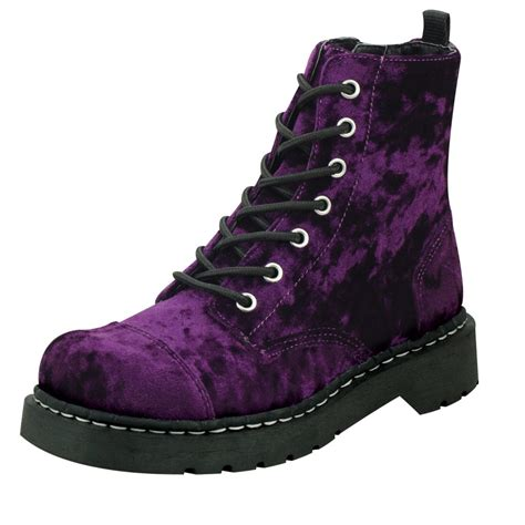boots purple t u k shoes anarchic 7 eye purple velvet combat boots