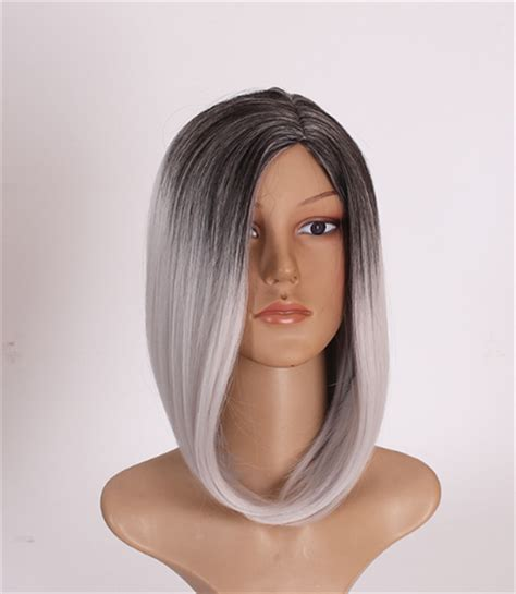 40cm high quality synthetic root ombre black silver