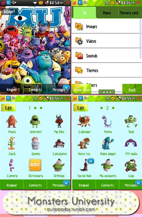 theme line monster university cutecorby treats monsters university theme download via box