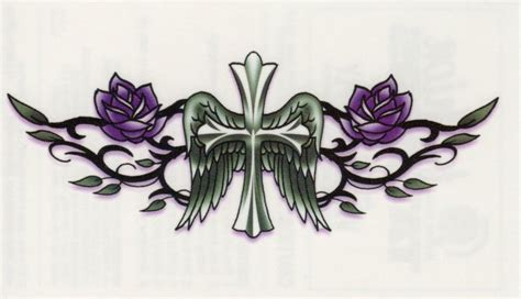 purple cross tattoo bullseye temporary cross wings purple roses lower