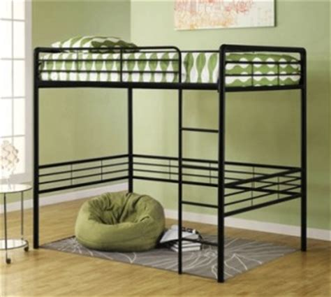 college bed size full size metal loft bed black great for college dorm ebay