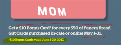 How Much Is On My Panera Gift Card - may 2017 buy 50 panera gift card get 10 bonus for june