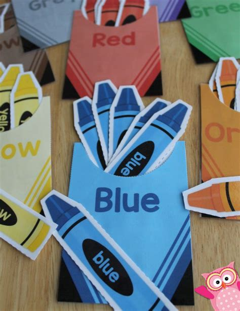 color sorting crayon color match activity counting