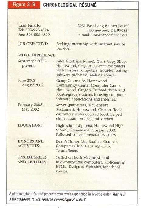 chronological resume sles sle chronological resume career development teaching ideas career development
