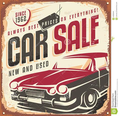 Poster Kayu 44 car sale vintage metal sign stock vector illustration of