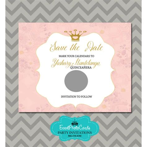 Pink and Gold Save the Date Quinceanera Princess   Scratch Off