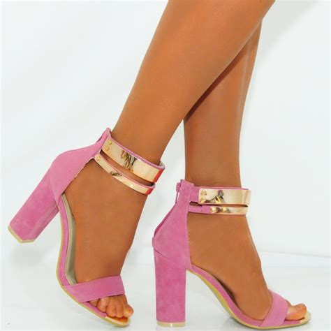 pink gold metal ankle cuff block high heel shoes
