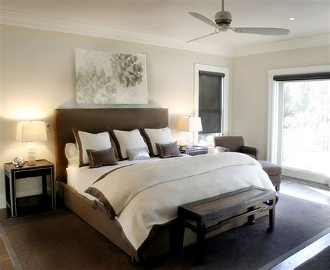 brown and gray bedroom brown headboard transitional bedroom elsa soyars