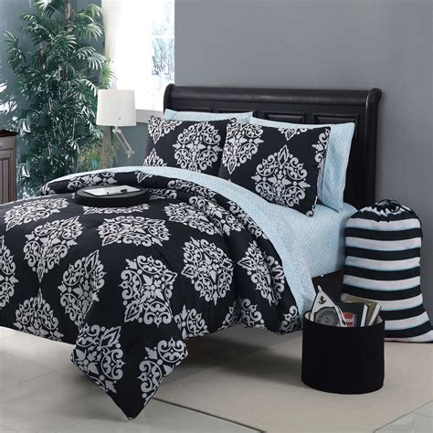 black bed set black and dark blue bedding