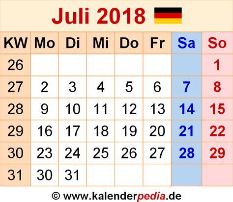 Kalender Juli 2018 Kalender Juli 2018 Als Pdf Vorlagen