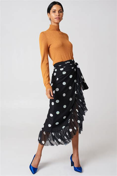 Maxi Kd lyst na kd mesh overlap maxi skirt in black