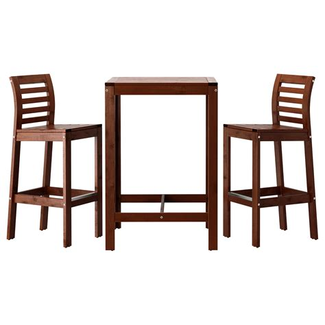 bar stools tables 196 pplar 214 bar table and 2 bar stools brown stained ikea