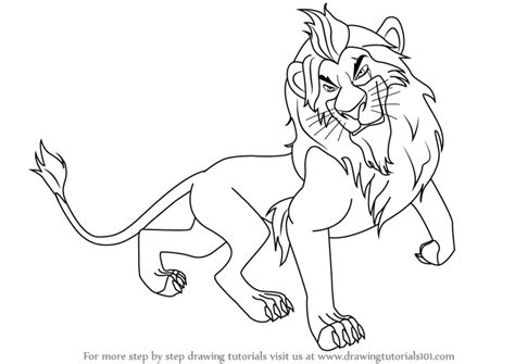 lion king coloring pages scar step by step how to draw scar from the lion king