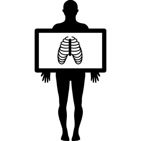x ray pattern vector standing male silhouette with x ray view of the lungs