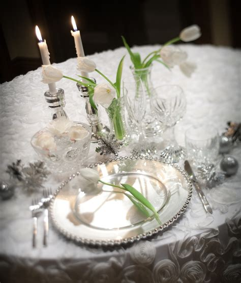 Silver Table Decorations by Stunning Winter Wedding Reception Tablescape