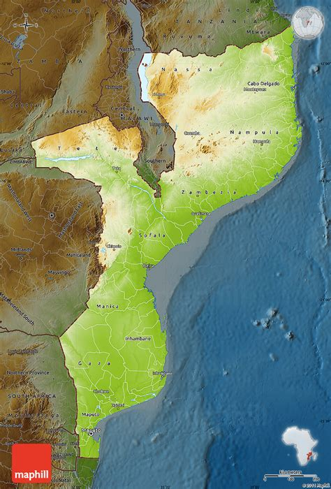 physical map of mozambique physical map of mozambique darken