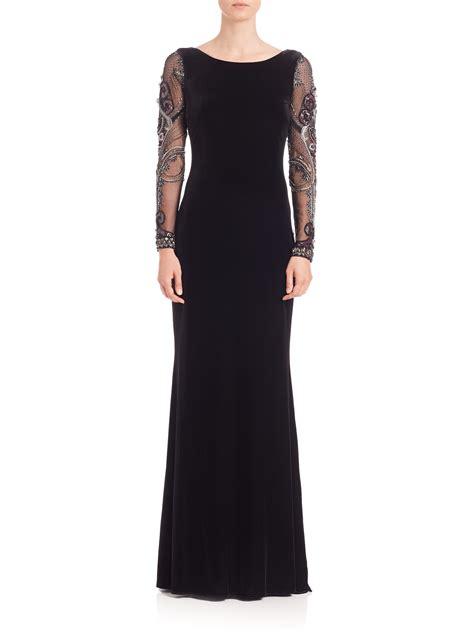 black beaded gown lyst badgley mischka beaded sleeve velvet gown in black
