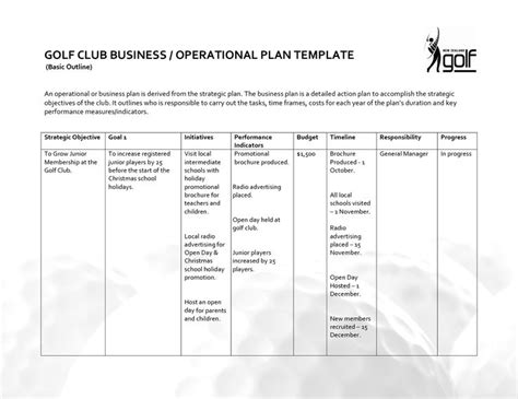 operational plan template golf club business operational