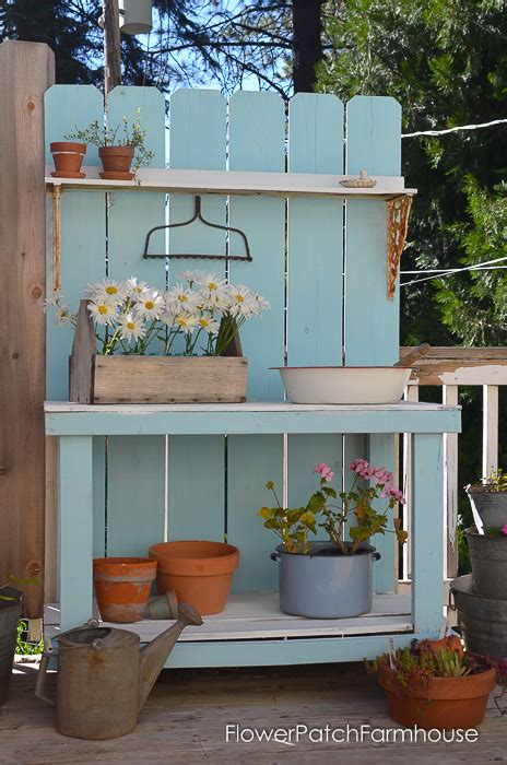 flower potting bench diy potting bench refresh for summer flower patch farmhouse