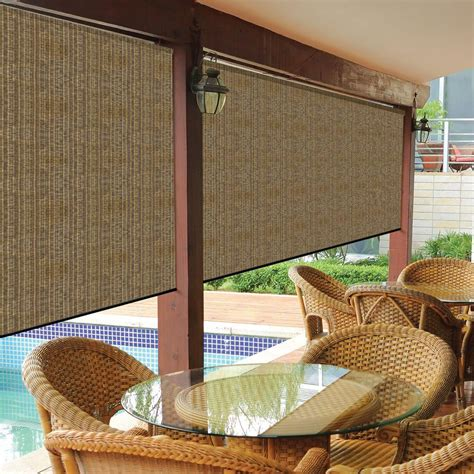 outdoor shade curtains coolaroo walnut cordless exterior roller shade 120 in w