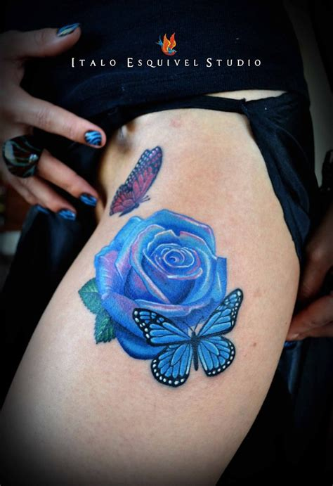butterfly and roses tattoos since the blue itself is a rarity in nature it