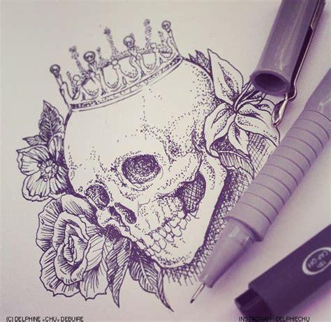 flower crown tattoo skull illustration c delphine quot chu quot debuire http