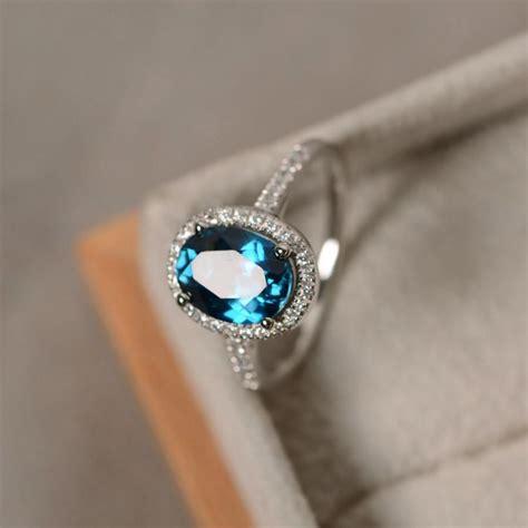 blue topaz ring oval gemstone sterling silver