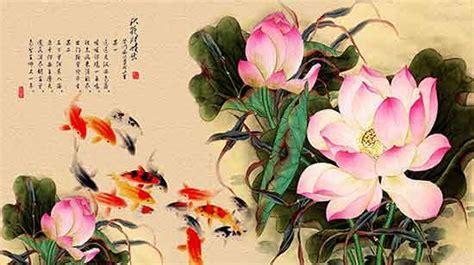 gaya cina latar belakang tinta cina gaya lotus bunga latar belakang psd berlapis