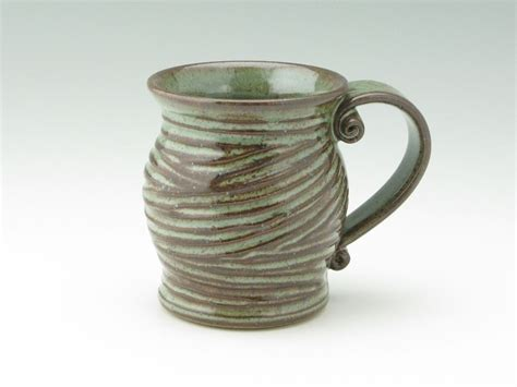 Handmade Stoneware Coffee Mugs - handmade pottery coffee mug pot belly 16 oz stoneware coffee