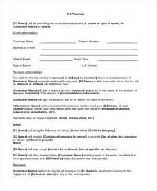 How To Make A Dj Contract by Sle Dj Contract Form 8 Free Documents In Pdf Doc