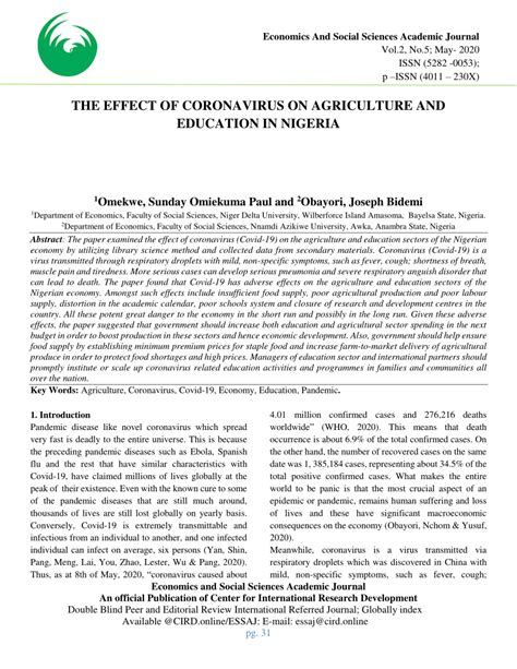 (PDF) THE EFFECT OF CORONAVIRUS ON AGRICULTURE AND