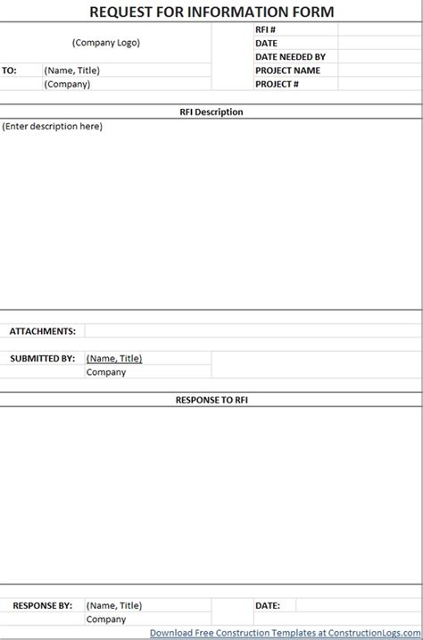 free request for information rfi form template regarding