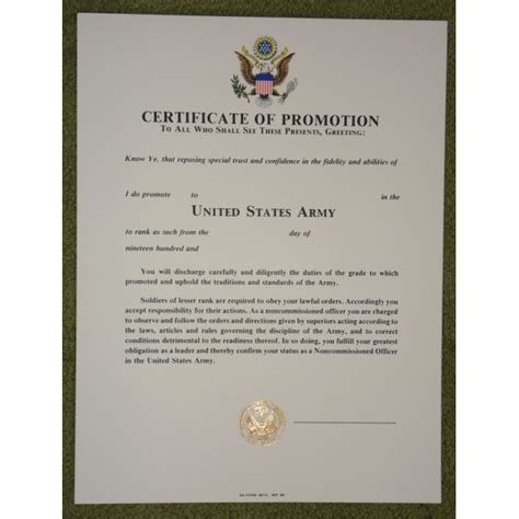 military trailer cer us army certificate of promotion