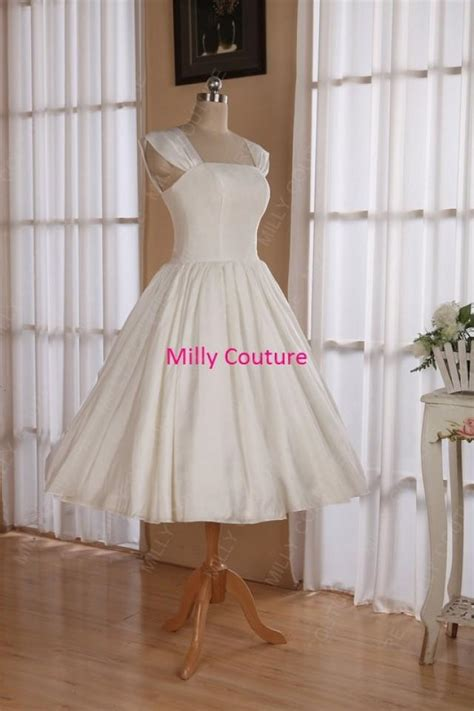 Pinup Style Wedding Dresses by Cap Sleeves 1950s Pin Up Wedding Dress Tea Length Retro
