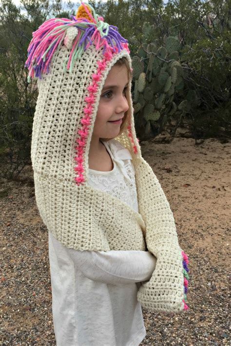 free knitting pattern hooded scarf pockets unicorn hooded scarf with pockets crochet pattern