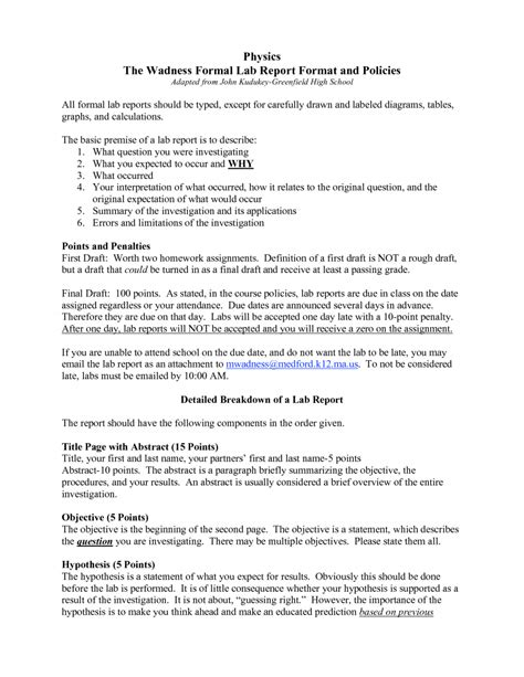 lab write up template formal lab report template physics 7 formal lab report