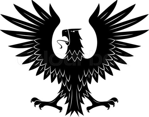 black heraldic eagle of ancient royal insignia or medieval