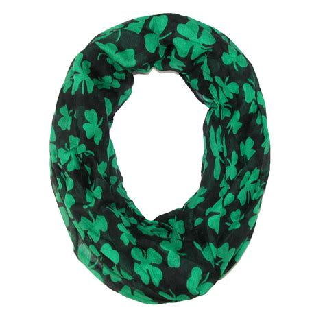 womens st patricks day shamrock infinity loop scarf by